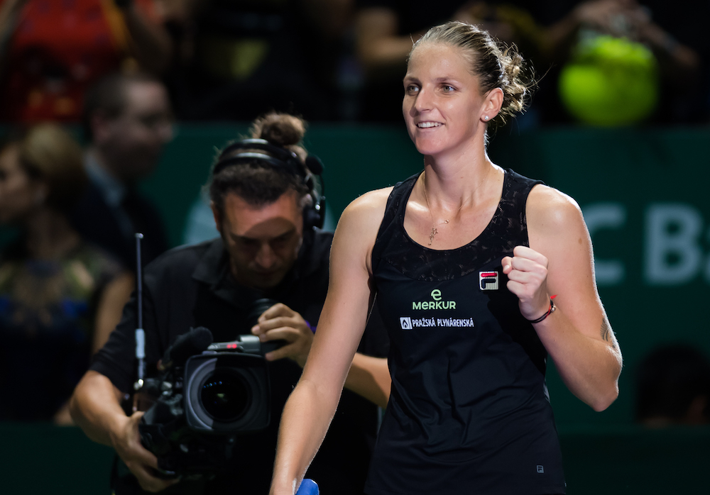 Karolina Pliskova in the first round robin match of the WTA Finals 2018, Singapore