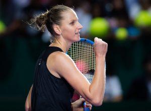 Karolina Pliskova in the third round robin match of the WTA Finals 2018, Singapore