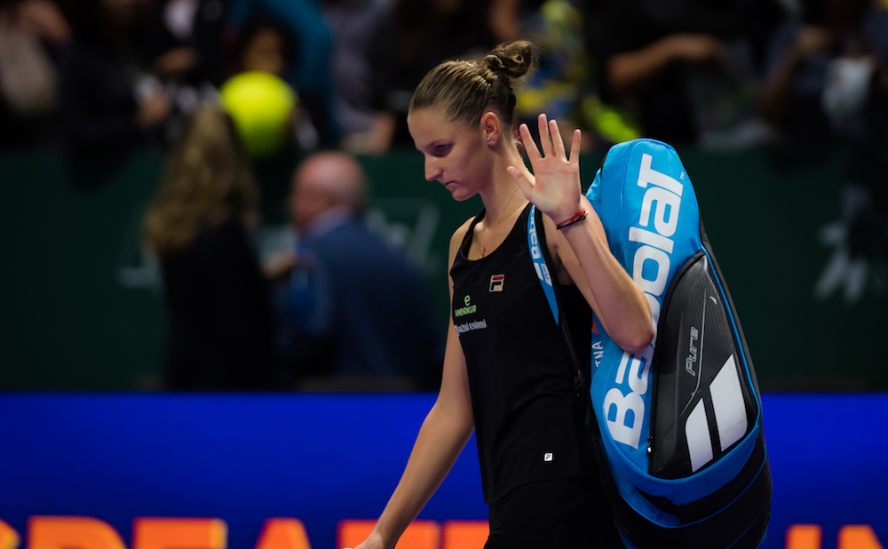 Karolina Pliskova after the semi-final of the WTA Finals 2018, Singapore