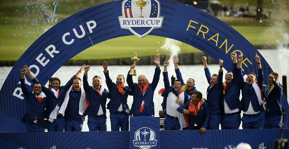 Europe celebrate winning the Ryder Cup, Paris France 2018