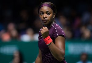 Sloane Stephens in the first round robing match of the WTA Finals Singapore, 2018