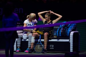 Rennae Stubbs and Karolina Pliskova in the first round robin match of the WTA Finals 2018, Singapore