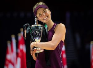 Elina Svitolina with the WTA Finals Trophy, Singapore 2018