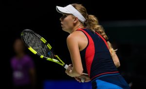 Caroline Wioznaicki in the second round robin match of the WTA Finals 2018, Singapore