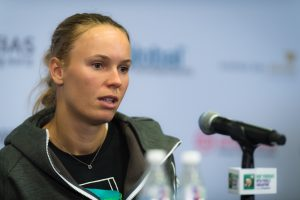 Caroline Wozniacki after the first round robin match at the WTA Finals 2018, Singapore