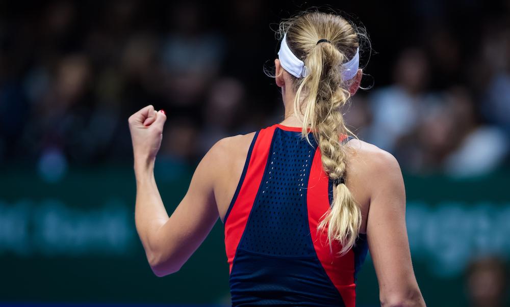 Caroline Wozniacki in the first round robin match of the WTA Finals 2018, Singapore