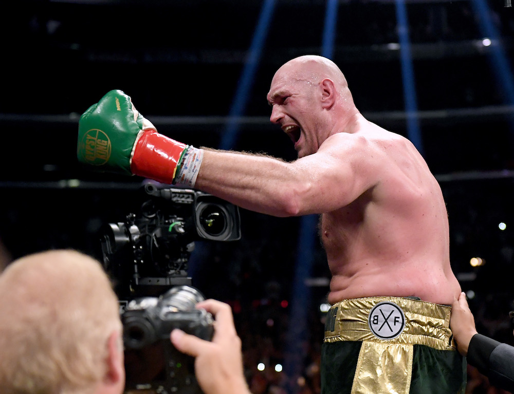 Tyson Fury during the WBC Heavyweight Championship bout against Deontay Wilder, 2018