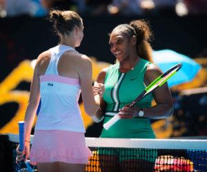 Karolina Pliskova and Serena Williams after the quarter-final of the Australian Open 2019, Melbourne