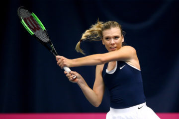 Katie Boulter in the Fed Cup tie between Great Britain and Slovenia in Bath, UK 2019