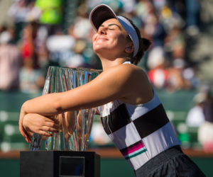 Bianca Andreescu with the trophy after winning the BNP Paribas Open, WTA Indian Wells 2019