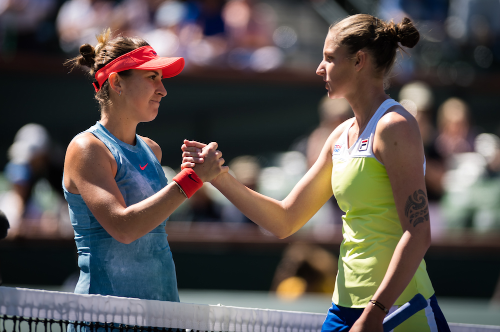 Belinda Bencic & Karolina Pliskova in the quarter-final of the BNP Paribas Open, WTA Indian Wells 2019