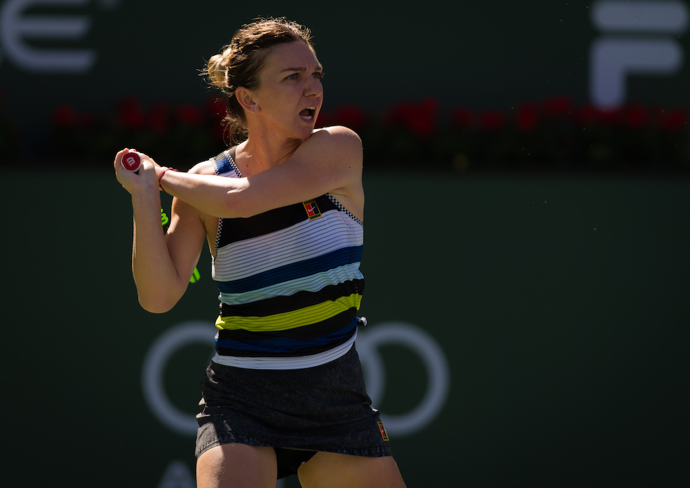 Simona Halep in the fourth round of the BNP Paribas Open, WTA Indian Wells 2019