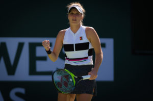 Marketa Vondrousova in the fourth round of the BNP Paribas Open, WTA Indian Wells 2019