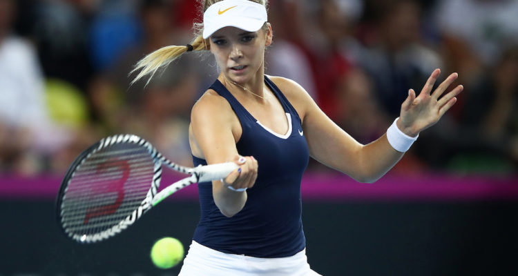 Katie Boulter in the second rubber of the Fed Cup World Group II Play-Off, London 2019