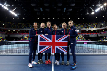 Great Britain's Fed Cup team ahead of the World Group II Play-off against Kazahkstan, London 2018