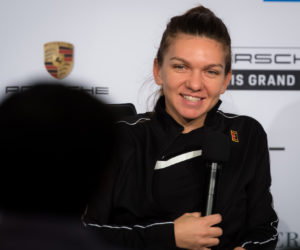 Simona Halep talks to the media at the Porsche Tennis Grand Prix, Stuttgart 2019