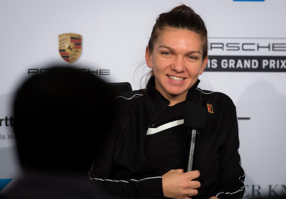 Simona Halep talks to the media at the Porsche Tennis Grand Prix, Stuttgart 2019