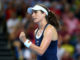 Johanna Konta in the first rubber of the Fed Cup World Group II Play-off against Kazakhstan, London 2019