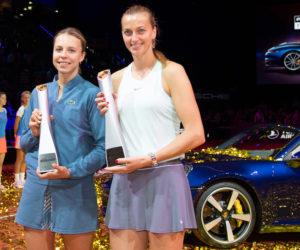 Porsche Tennis Grand Prix Champion 2019 Petra Kvitova with her trophy and runner-up Anett Kontaveit
