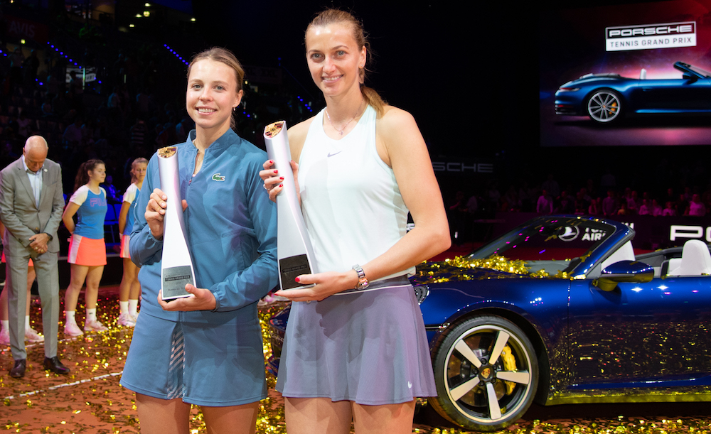 Porsche Tennis Grand Prix Champion 2019 Petra Kvitova with her trophy and runner-up Anett Kontaveit