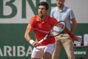 Novak Djokovic in the first round of Roland Garros 2019, France