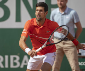 Novak Djokovic in the first round of Roland Garros 2019, France