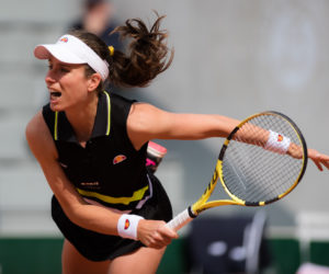 Johanna Konta in the first round of Roland Garros, France