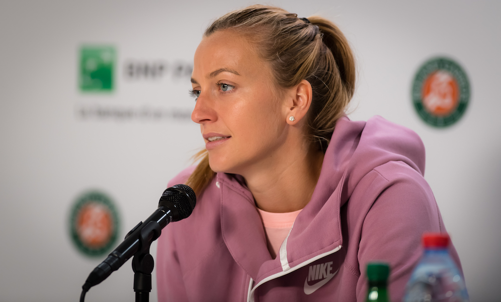 Petra Kvitova talks to the press after withdrawing from Roland Garros 2019, France