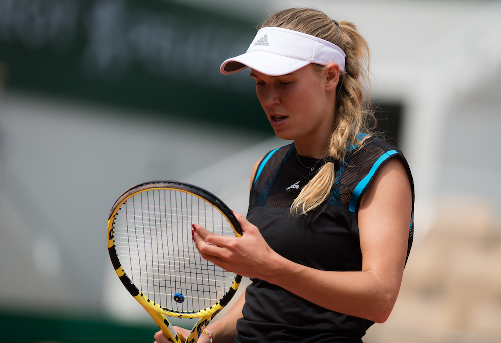Caroline Wozniacki in the first round of Roland Garros 2019, France