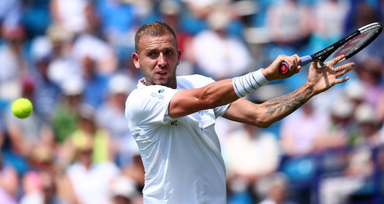 Dan Evans in the first round of the Nature Valley International, Eastbourne 2019