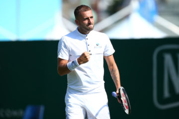 Dan Evans in the second round of the Nature Valley International , Eastbourne 2019