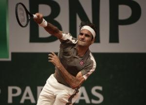 Roger Federer in the quarter-final of Roland Garros 2019, France