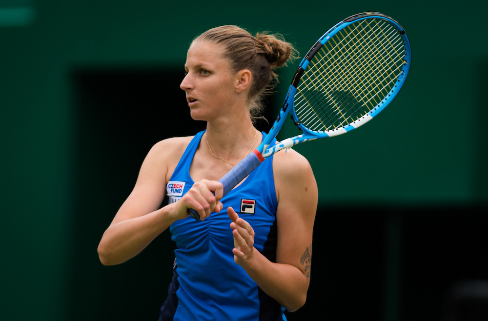 Karolina Pliskova in the second round of the Nature Valley Classic, Birmingham 2019