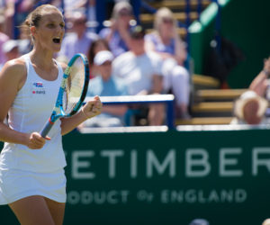 Karolina Pliskova in the final of the Nature Valley International, Eastbourne 2019