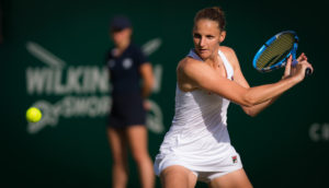 Karolina Pliskova in the quarter-final of the Nature Valley International, Eastbourne 2019