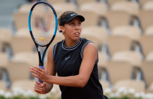 Madison Keys in the fourth round of Roland Garros 2019, France