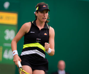 Johanna Konta in the first round of the Nature Valley Classic, Birmingham 2019