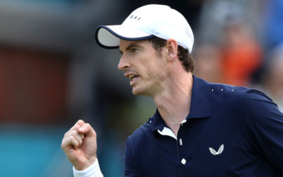 Andy Murray (w/Feliciano Lopez) in the first round of the Fever-Tree Championships Doubles, London 2019