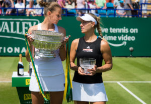 Karolina Pliskova and Angelique Kerber after the final of the Nature Valley International, Eastbourne 2019