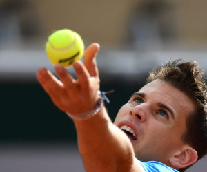 Dominic Thiem in the first round of Roland Garros 2019, France