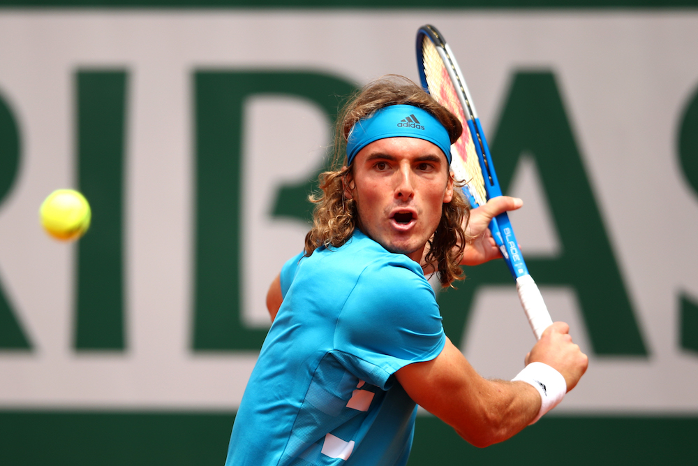 Stefanos Tsitsipas in the first round of Roland Garros 2019, France