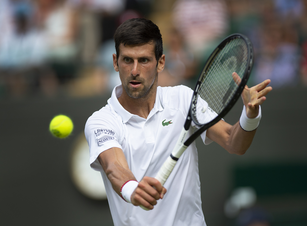 Novak Djokovic on Day Five of Wimbledon 2019