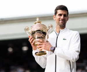 Novak Djokovic with the trophy, Wimbledon 2019