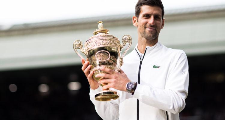 Novak Djokovic with the trophy, Wimbledon 2019