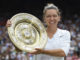 Simona Halep with the trophy after winning Wimbledon 2019