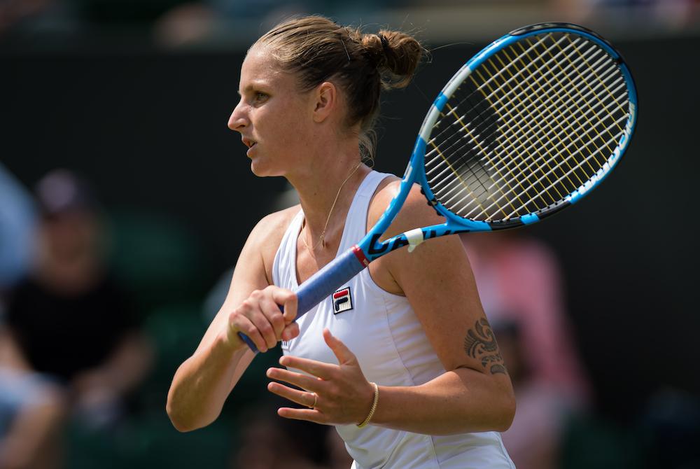 Karolina Pliskova in the first round of Wimbledon 2019