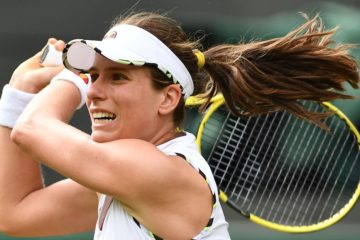 Johanna Konta in the first round of Wimbledon 2019