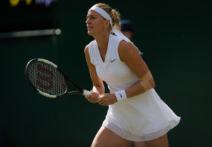 Petra Kvitova in the first round of Wimbledon, 2019