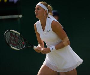 Petra Kvitova in the first round of Wimbledon, 2019