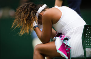 Naomi Osaka in the first round of Wimbledon 2019